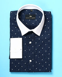 Navy Indian Heritage Printed Twill SHIRT