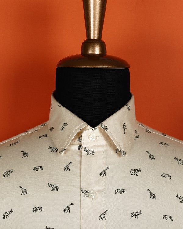 Cream Animal 🐘🦒🦛 Printed soft Satin Shirt