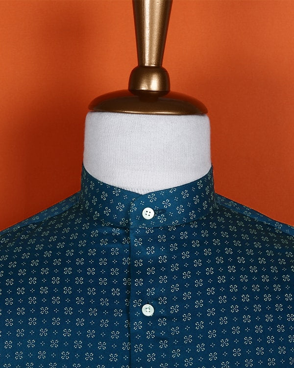 Greenish Blue Printed Satin Shirt