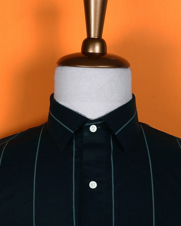 Navy Broad Striped Poplin Shirt