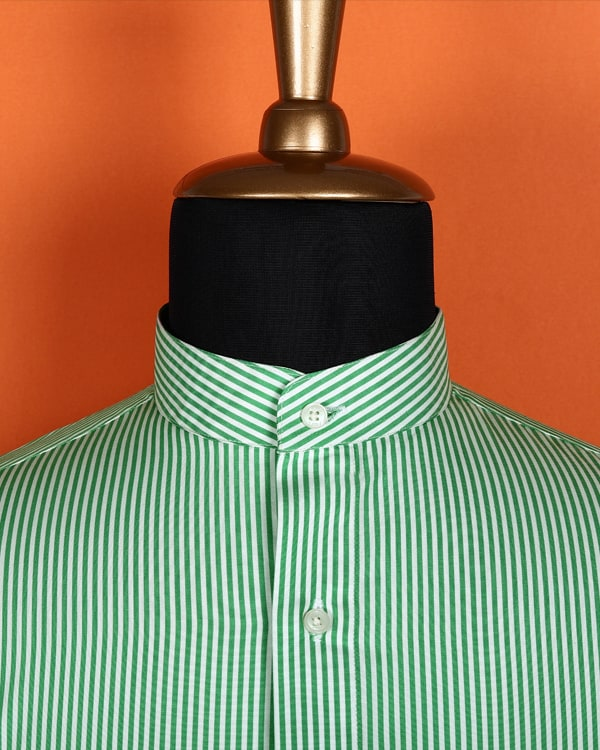 Lemon Green Striped Poplin Shirt