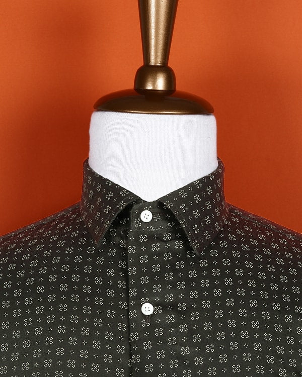 Smoke Grey Printed Satin Shirt