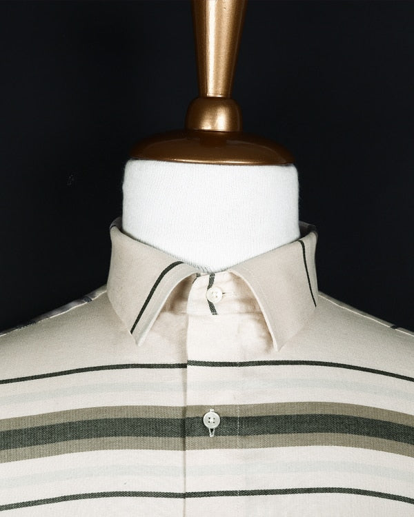 Cream Horizontal Striped Herringbone SHIRT