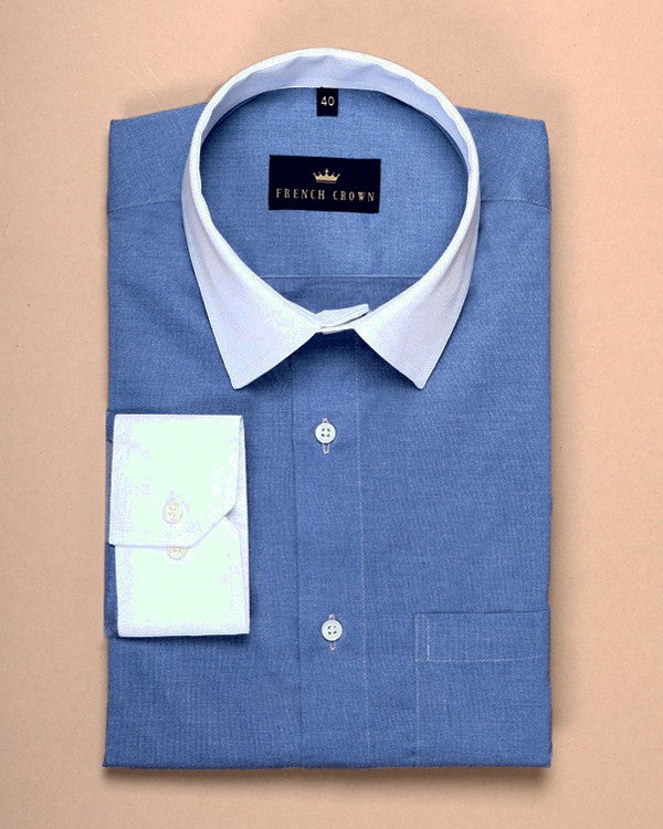 Sky Blue Stretchable Poplin Shirt