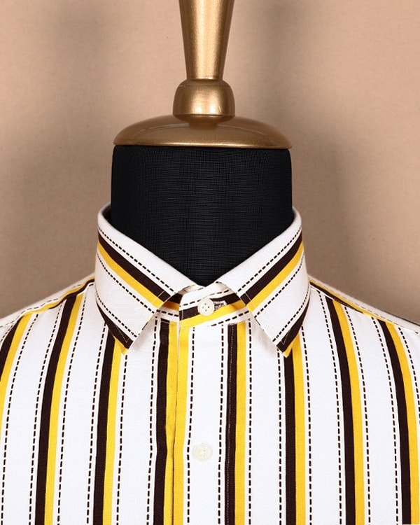 White with navy and yellow Striped Soft Poplin Shirt