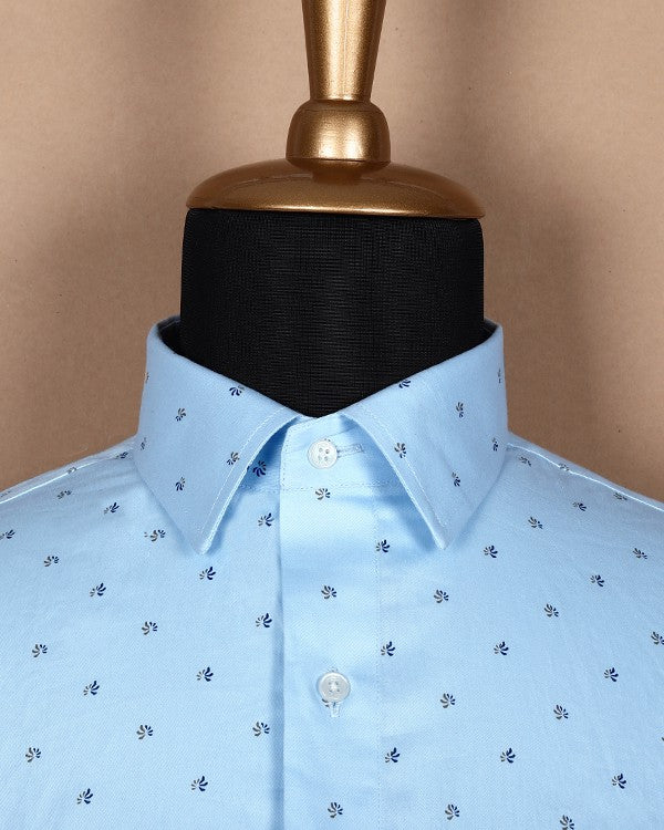 Sky Blue Flower Printed Satin Shirt