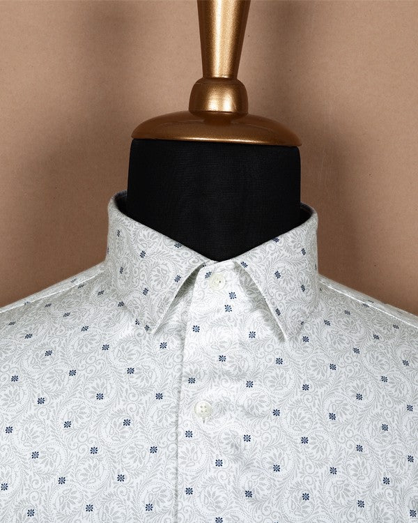 White with Grey Heritage Printed Satin Shirt