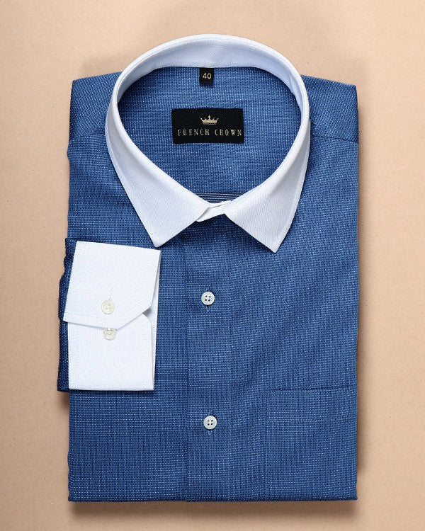 Mid Blue Dotted Dobby Shirt