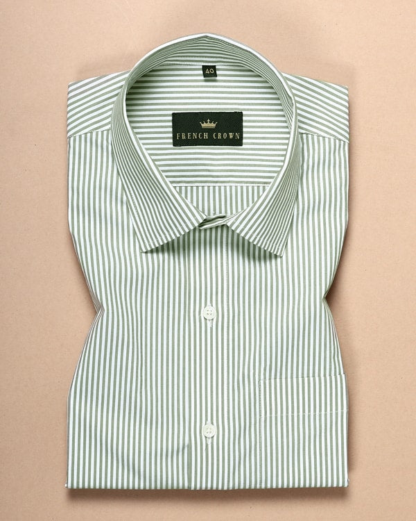 White and Olive Striped Poplin Shirt
