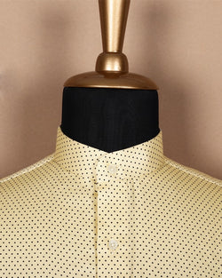 Butter Yellow Dotted Satin Shirt