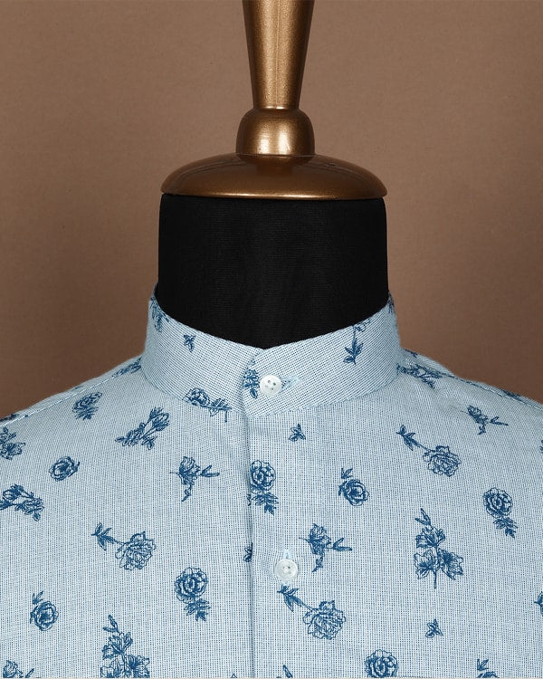 Sky Blue Rose Printed Poplin Shirt