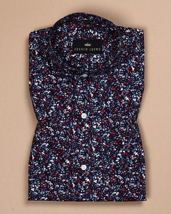 Navy Digital Floral Print Poplin Shirt