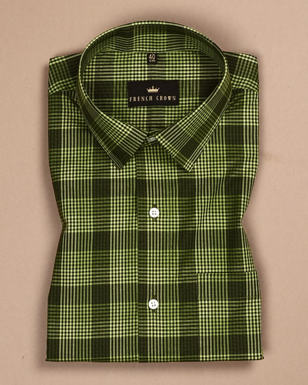 Lime Green Checked Poplin Shirt