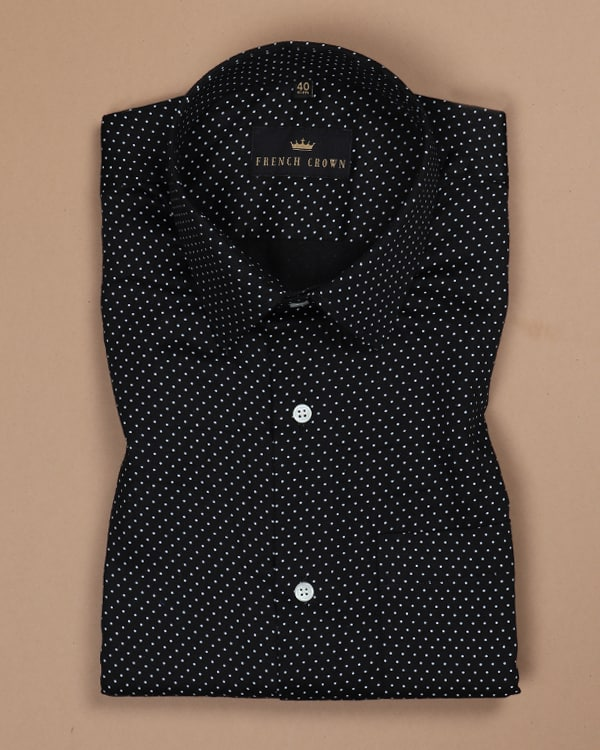 Mars Black Deco Dotted Satin Shirt