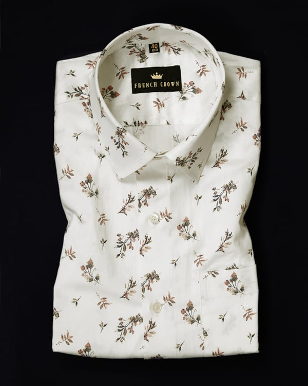 Bright white Printed Ultra Soft Satin Shirt