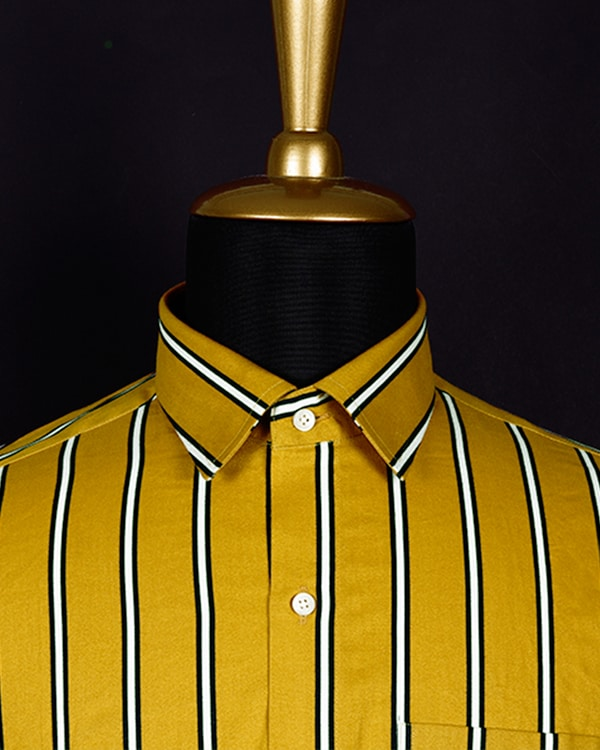 Mustard Striped Ultra Soft Twill SHIRT