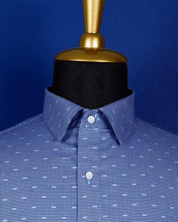 Sky Blue Printed Poplin Shirt