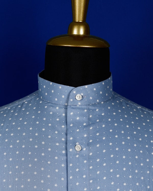 Sky Blue Printed Luxurious Linen-cotton SHIRT