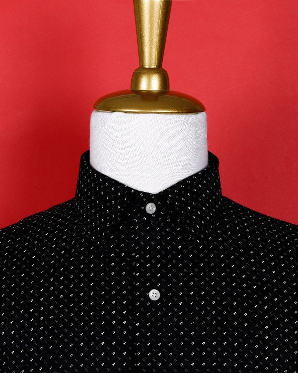 Jet Black Printed Poplin Shirt