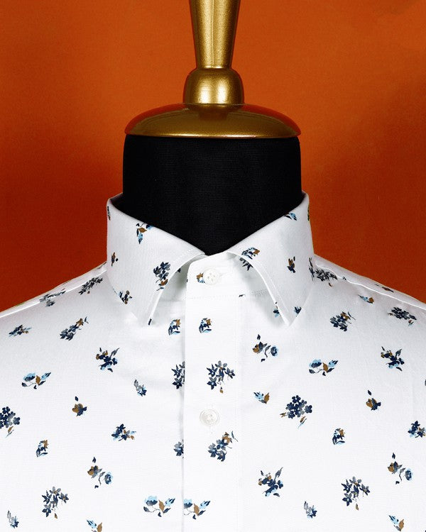 Bright white with blue flowers Printed Ultra Soft Shirt