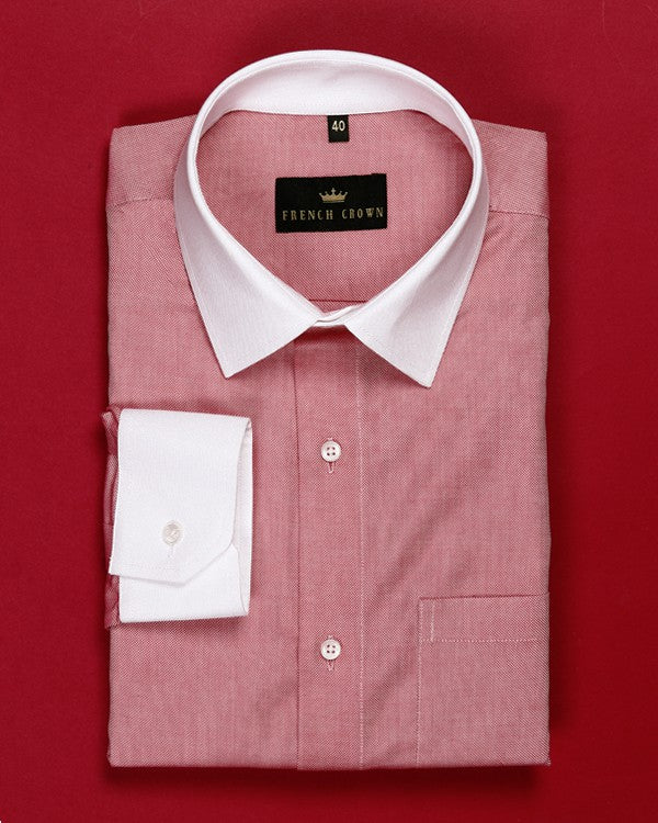 Rose Red Textured Giza Cotton Dobby Shirt