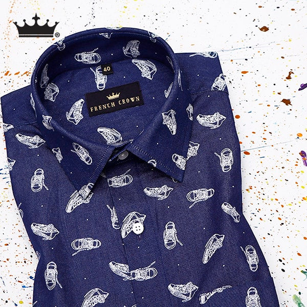 The Shoes printed royal oxford shirt