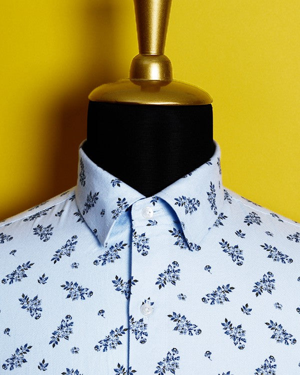 🌸Sky Blue Flower Printed Giza Cotton shirt