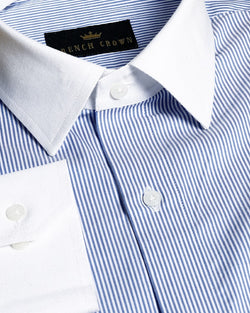 Sky Blue Stretchable Striped Giza Cotton Shirt