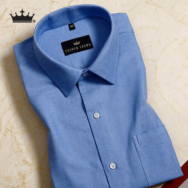 Sky Blue Heavy weight Buttery Corduroy Cotton Shirt