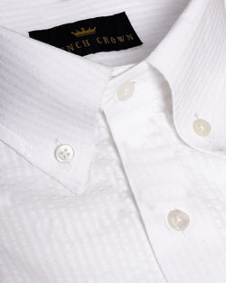 Milky white Jacquard Striped Giza Cotton shirt