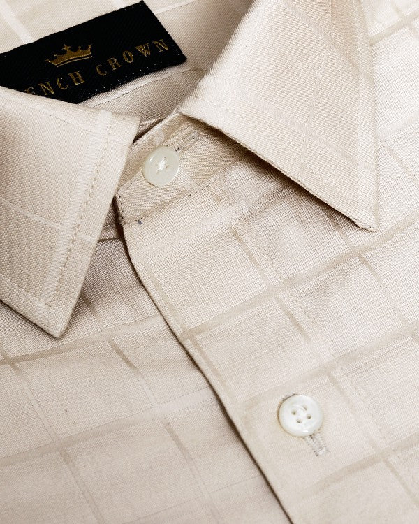 Cream Jacquard Checked Giza Cotton shirt