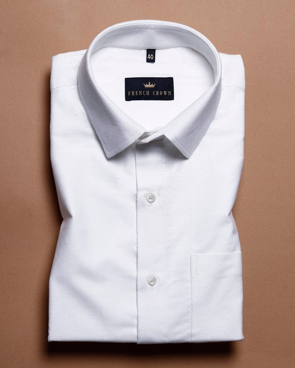 Bright White Heavy weight Buttery Corduroy Cotton Shirt