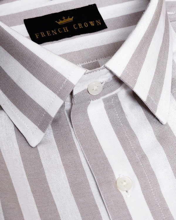 White with Brownish Grey Striped Premium Cotton Shirt