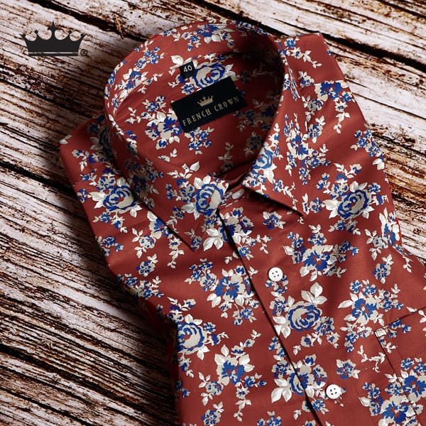 Dark Red Printed Premium Cotton Shirt