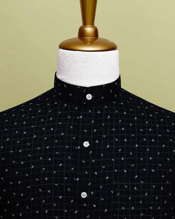 Jet Black Printed Premium Cotton Shirt