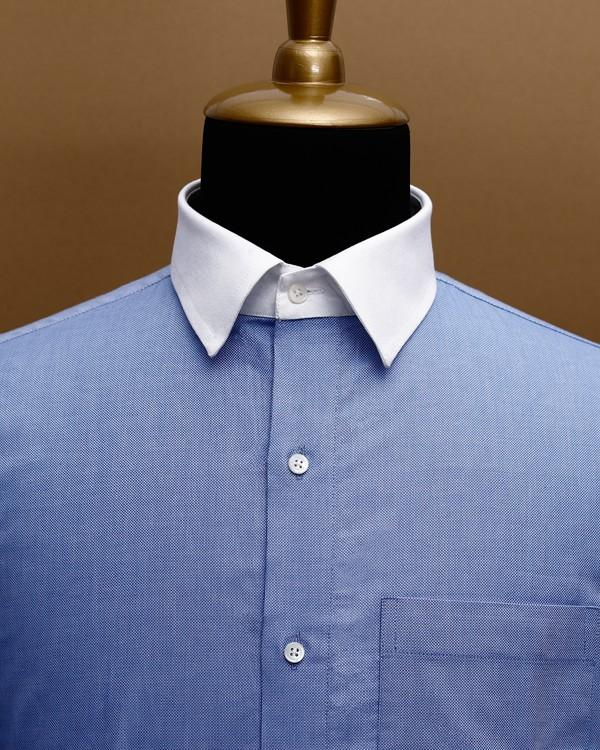 Blue with white cuff-collar Giza Cotton shirt