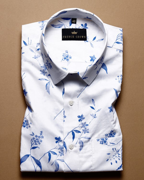 Bright White Blue flower Printed Ultra Soft Cotton Shirt