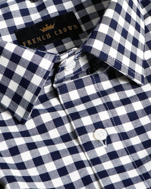 Navy-Cream Checked Heavy weight Cotton SHIRT