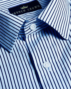 Sky with Black thin Striped Ultra soft Giza Cotton SHIRT