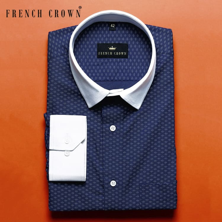 Navy Printed Ultra soft Premium Cotton Shirt