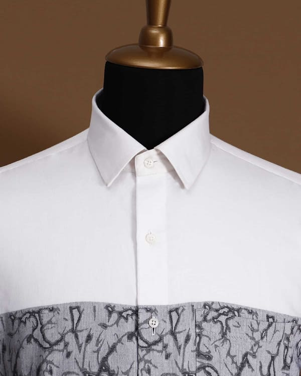 Bright White Dobby Patterned Giza Cotton shirt