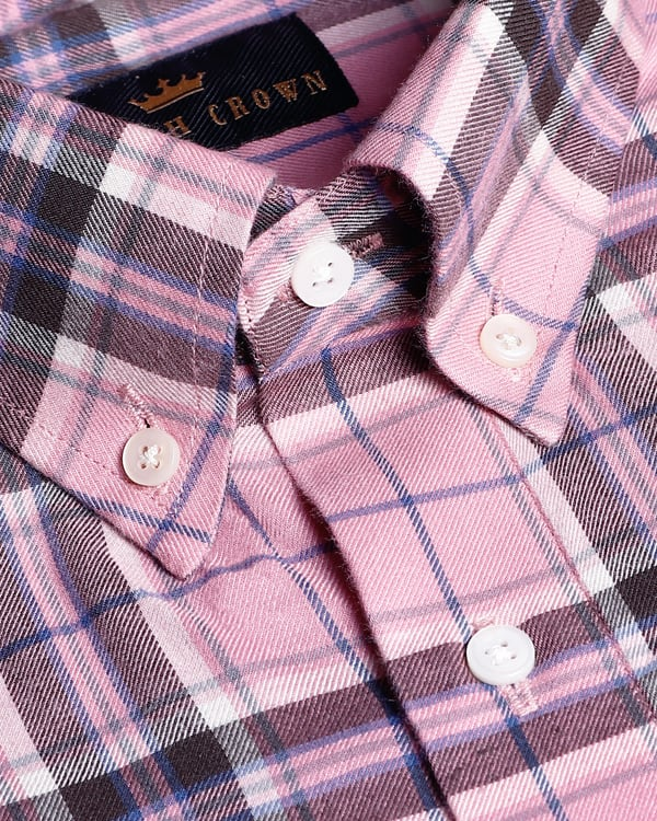 Rose Pink Checked Premium Cotton SHIRT