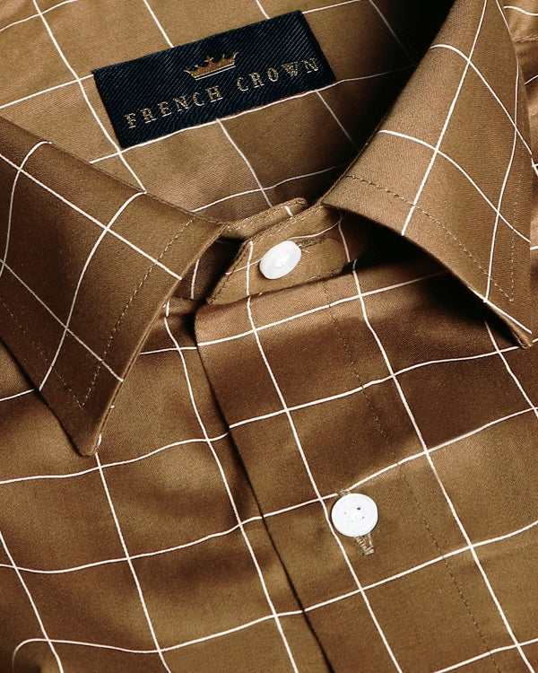Brown Windowpane Checked Premium Cotton Shirt