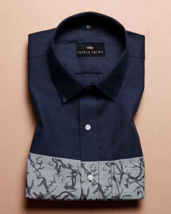 Navy Dobby Patterned Giza Cotton shirt