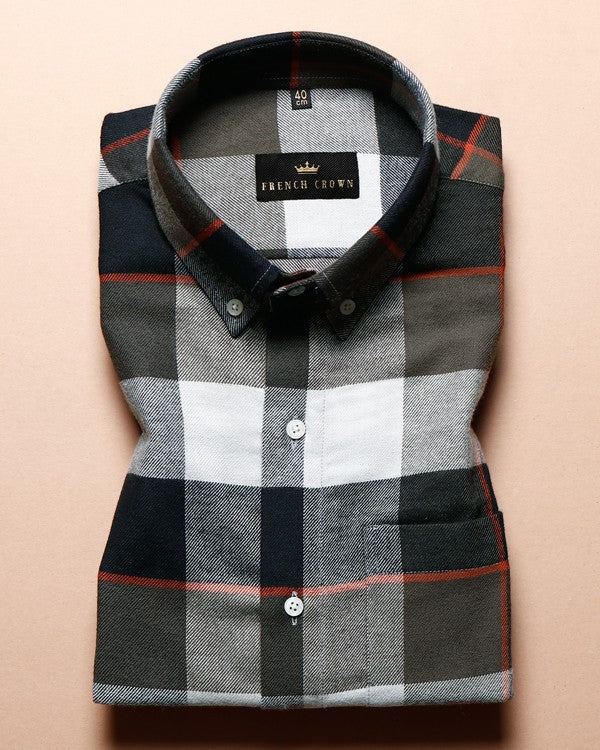 Olive, Black and Grey Checked with orange windowpane Flannel Cotton SHIRT