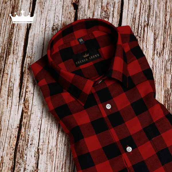 Red and Black Checked Premium Cotton SHIRT