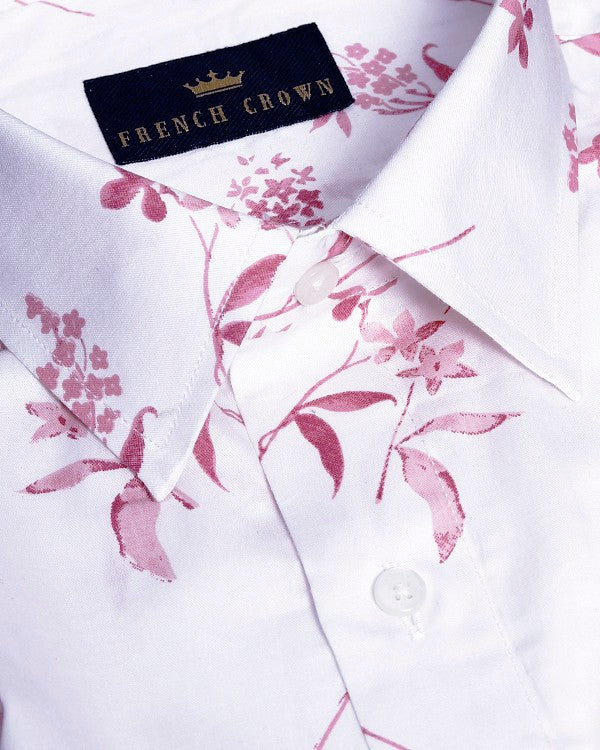 Bright White with pink flower Printed Ultra Soft Cotton Shirt