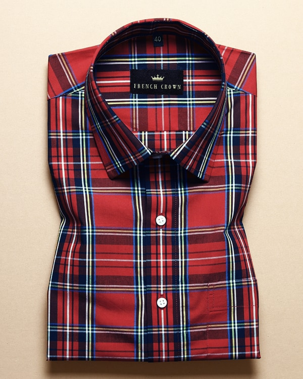 Cherry Red Checked Premium Cotton Shirt
