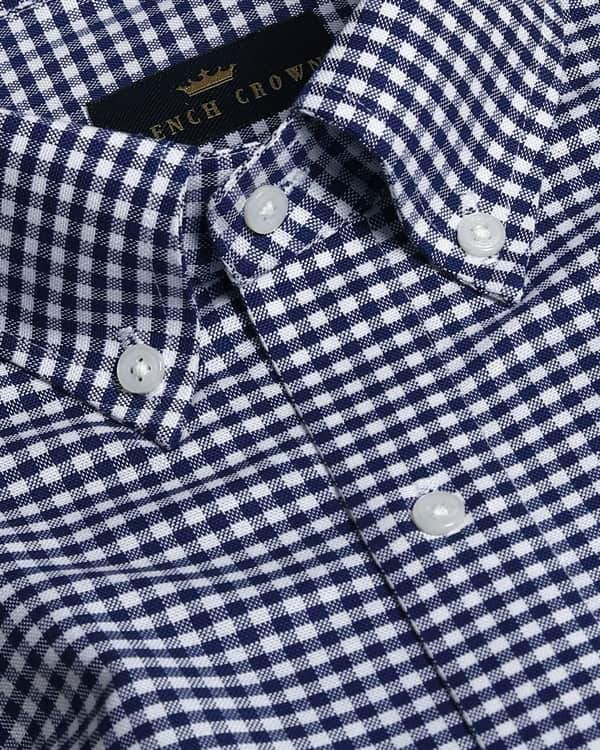 Blue Micro Checked Royal Oxford Shirt