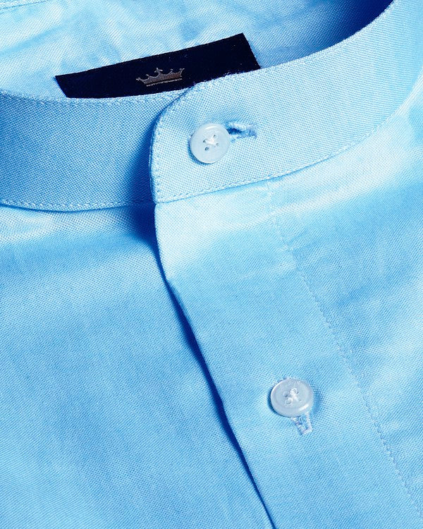Bright Blue Silky Textured Giza Cotton shirt